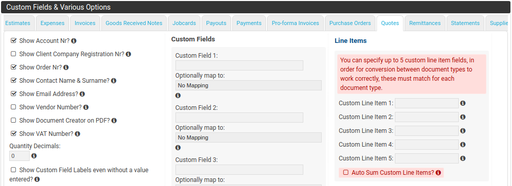 Custom Fields & Custom Line Item Fields